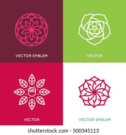 Vector logo design template and monogram concepts in trendy linear style - rose flower - signs for cosmetics and beauty packaging