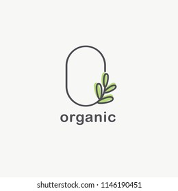 Vector logo design template for organic and natural cosmetics. Healthy lifestyle and vegan sign. Letter O