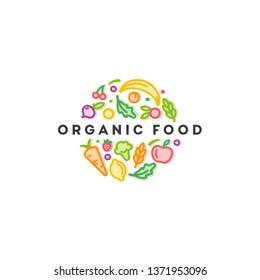 Vector logo design template. Organic food sign.