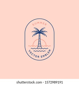 Vector logo design template with palm tree - abstract summer and vacation badge and emblem