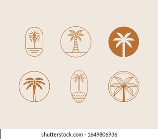 Vector logo design template with palm tree - abstract summer and vacation badge and emblem for holiday rentals, travel services, tropical spa and beauty studios