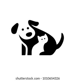 Vector logo design template for pet shops, veterinary clinics and homeless animals shelters - mono line icons of cats and dogs - badges for websites and prints