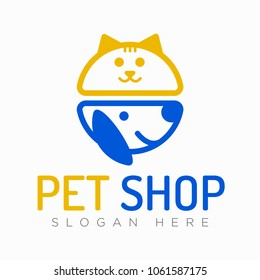 Vector logo design template for pet shops, veterinary clinics and animal shelters. Vector logo template with cat and dog. Pet Store Icon.