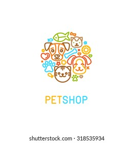 Vector logo design template for pet shops, veterinary clinics and homeless animals shelters - circle made with mono line icons of cats and dogs - badge for websites and prints