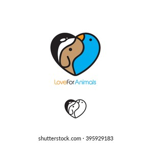 Vector logo design template for pet shops, veterinary clinics, animal shelters. Colors can be changed easily