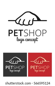 Vector logo design template for pet shops or veterinary clinics - mono line pet paw for websites and prints.