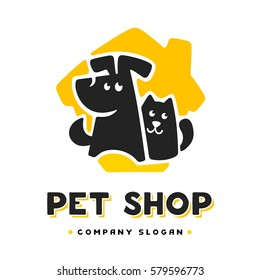 Vector logo design template for pet shops, veterinary clinics and animal shelters homeless. Vector logo template with cat and dog.