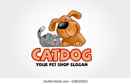 Vector logo design template for pet shops, veterinary clinics and animal shelters. Vector logo template with cat and dog. Cartoon logo illustration.
