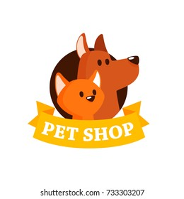 Vector Logo Design Template For Pet Shops, Veterinary Clinics and Animal Shelters Homeless. Vector Logo With Cat and Dog