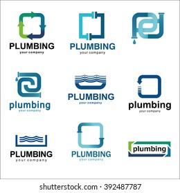 Vector logo design template for plumbing company. Icon set