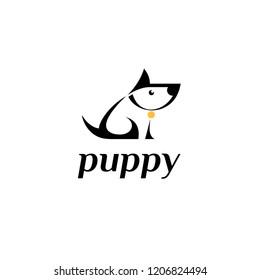 Vector logo design template. Puppy sign icon