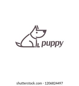 Vector logo design template. Puppy sign icon