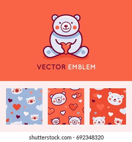 Vector logo design template and seamless patterns in cartoon flat linear style - little smiling bear holding red heart - love and care concept -  emblem, mascot, sticker or badge for kids store