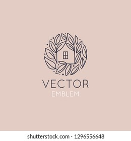 Vector Logo Design Template In Simple Linear Style