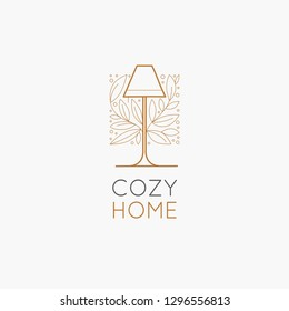 Vector logo design template in simple linear style - home decor store emblem, scandinavian and minimal interior decoration, accessories and objects - lamp with leaves
