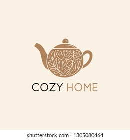 Vector logo design template in simple linear style - home decor store emblem, scandinavian and minimal interior decoration, accessories and objects - teapot with leaves