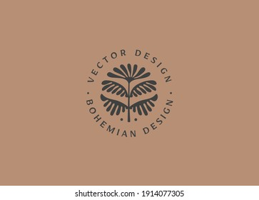 Vector logo design template in simple minimal style with hand-drawn leaves - abstract emblems for organic, handmade and craft products
