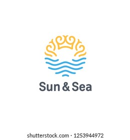 Vector logo design template. Sun and Sea sign.
