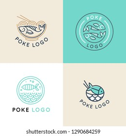 Vector logo design template logo design in trendy linear style - poke bowl - emblem for food delivery, menu, restaurant, cafe
