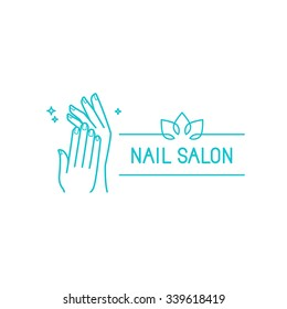 Vector logo design template in trendy linear style - female hands - manicure and nail salon concept