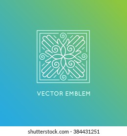Vector logo design template in trendy linear style - concept and emblem for spa and holistic centers, massage therapy, yoga studios