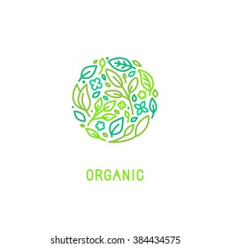Vector logo design template in trendy linear style with icons - organic concept and badge - green leaves in circle shape - for cosmetics packaging and vegan food