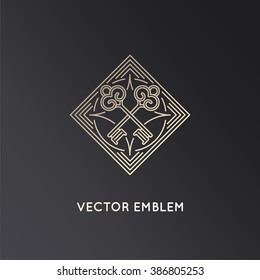 Vector logo design template in trendy linear style with keys - badge and emblem for real estate agents, hotels, security concepts