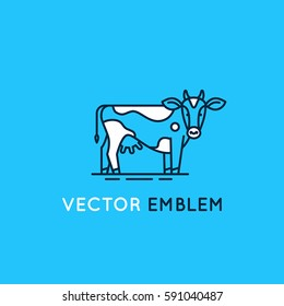 Vector logo design template in trendy linear style - emblem with cow - illustration for milk and dairy industry and packaging - organic, natural and fresh food from farm