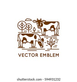Vector logo design template in trendy linear style - emblem with cows - illustration for milk and dairy industry and packaging - organic, natural and fresh food from farm