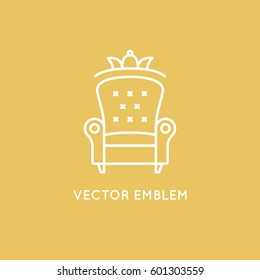 Vector logo design template in trendy minimal linear style - interior design concept - furniture and home decoration items and icons