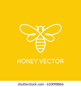 Vector logo design template in trendy minimal linear style - honey bee concept - emblem for food packaging