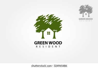 Vector logo design template of two trees incorporate with a house that made from a simple scratch. it's good for symbolize a property or wooden housing business.