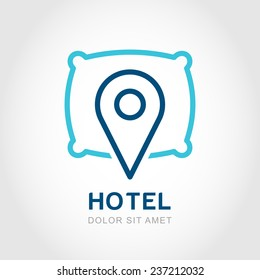 Vector logo design template. Waypoint map symbol and pillow. Creative concept symbol for hotel, hostel, travel, housing rent, real estate.