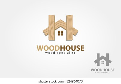 Vector logo design template of wood house. it.s a modern, simple and clean logo design.