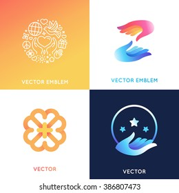 Vector logo design templates in bright gradient colors - charity concepts and volunteer organizations - help and protect