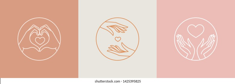 Vector logo design templates with hands and hearts - volunteer or charity organisations emblems and signs