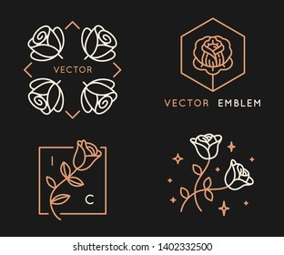 Vector logo design templates and monogram design elements in simple minimal style with roses and copy space for text - geometrical abstract emblems and signs