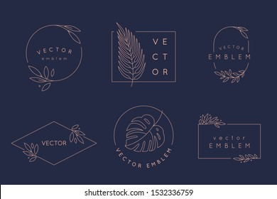 Vector logo design templates and monogram concepts in trendy linear style - floral frame with copy space for text or letter - emblem for fashion, beauty and jewellery industry