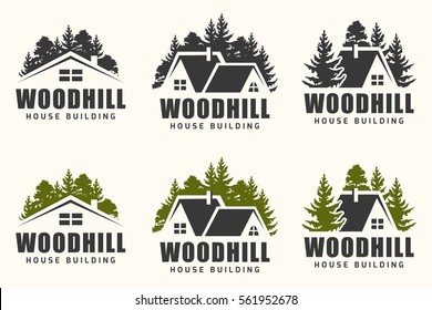Vector logo design of a trees silhouette and small house. Logo for house repair and building.