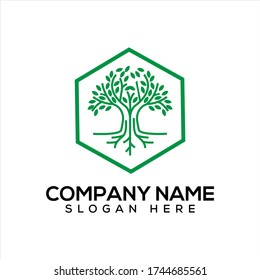Vector logo design of trees, wood roots, simple and elegant abstract leaves