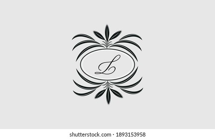 Vector logo design in trendy linear style. Floral monogram with the letter L in the center or space for the text of the letter - an emblem for fashion, beauty and jewelry industry, business