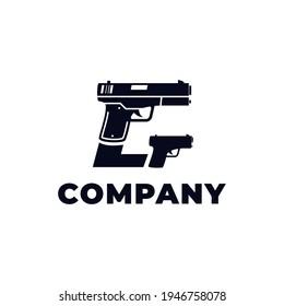 Vector logo design of  two pistol or gun (detail pistol) and hidden initials letter G. This logo is ideal for gun bussines, gun shop, shooting range,etc