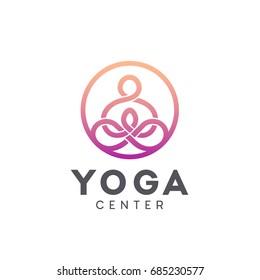 Vector logo design for yoga center. Yoga icon