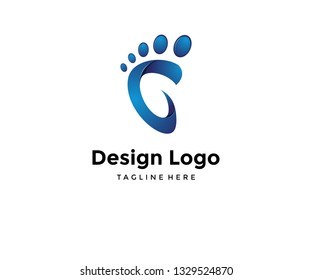 Vector logo design,icon feet and initials c