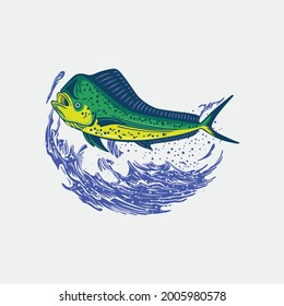 Vector logo detail color mahi-mahi fish