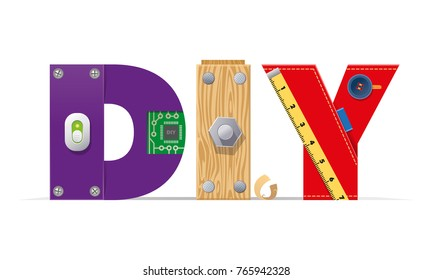 Vector logo, DIY, stylized letters tools, details, handmade