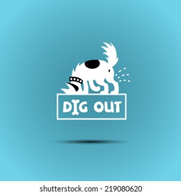 vector logo with a dog digging a hole in search of bones