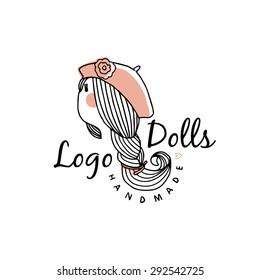 Vector logo dolls. Line illustration