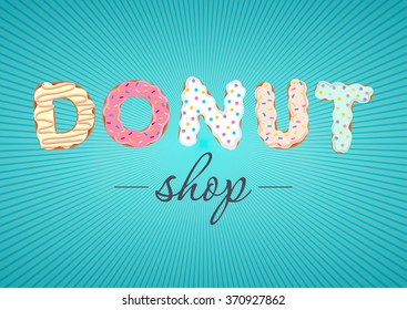 Vector logo for donut shop and bakery. Can find its application as a logo or icon for sweet bar, confectionery, room, boutique, store. eps10
