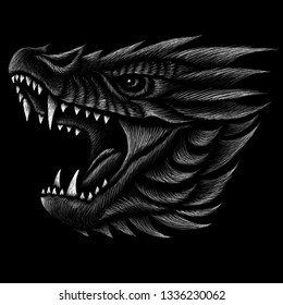 The Vector logo dragon for tattoo or T-shirt design or outwear.  Hunting style dragon background.